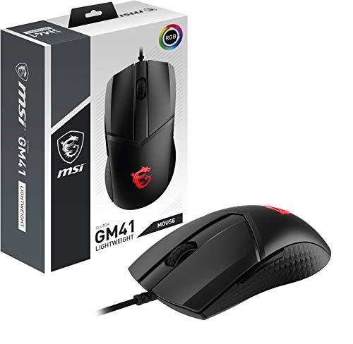 MSI Clutch GM41 Lightweight - Ratón Gaming (16000 dpi, RGB, 6 Botones, 2m FriXionFree Cable Trenzado, Diseño Simétrico) Negro