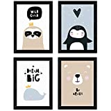 Nacnic Set de 4 láminas Ballena, pingüino, Foca y Oso Polar. Posters de Animales. Tamaño A3 sin Marco