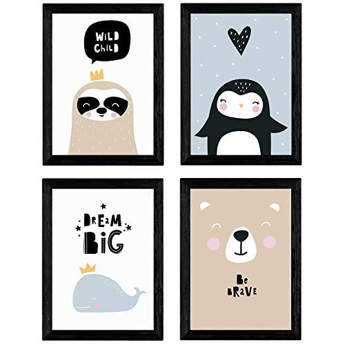 Nacnic Set di 4 stampe artistiche ANIMALI (orso polare, pinguino, balena, procione) per arredare la Cameretta dei Bambini, Unisex, Stile Nordico e scandinavo