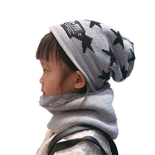Ensemble Garçon écharpe Chapeau Enfants Hiver Thermiques Tricoté Beanie Bonnet Doublé Polaire,Gray