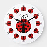 Cute Ladybug Silent 9.5 Inch Wall Clock Decor for Bedroom,Kitchen