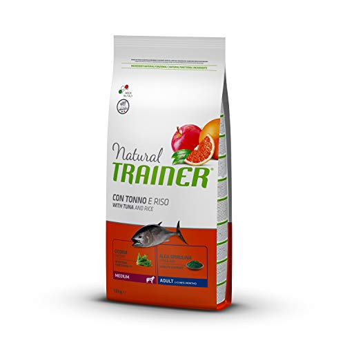 Natural Trainer - Cibo per Cani Medium Adult, Alimento Secco, Tonno e Riso, 12kg