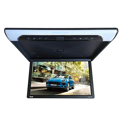 19.4-Inch Overhead Flip-Down Car Monitor - HD 1920x1080p Widescreen Car Roof Mount Monitor, Vehicle Flip Down Overhead Screen w/IR & FM Transmitter, USB, SD, HDMI, AV, Stereo Speaker - Pyle PLRV1925