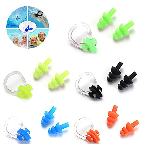 Herramientas de natación, tapones de silicona para la nariz y tapones para los oídos para adultos y niños desnudos, ducha, surf, baño (5 unidades, tapón para los oídos + clip para la nariz)