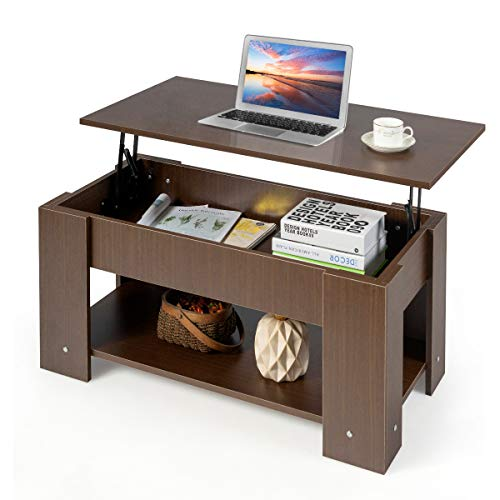 COSTWAY Couchtisch höhenverstellbar, Sofatisch mit Ablagefach, Beistelltisch aus Holz, Kaffeetisch Teetisch für Wohnzimmer Balkon Flur (braun)