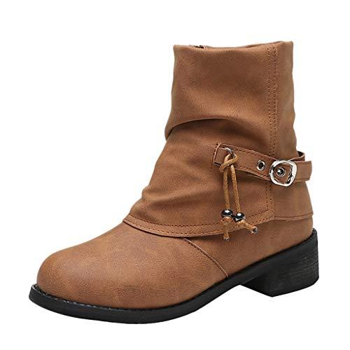 Posional Zapatos de Mujer Pisos Cuero Moda Botines Punta Redonda Hebilla Tacón Bajo Huecos Cortos con Cremallera Lateral Borla Personalizada Antigua Casuales Botines Combate