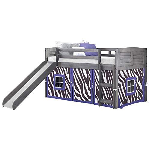 Twin Louver Low LOFT W/Slide & Zebra Tent KIT in Antique Grey Finish