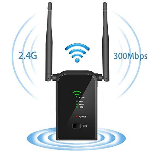 Aigital WiFi Repetidor, 300Mbps Enrutador Inalámbrico Extensor de Red WiFi Ap Amplificador Wireless Repeater Booster Wireless-N 2.4GHz Universal EU Enchufe (WPS)