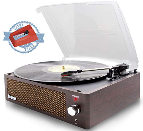 Lauson XN591 Record Player | USB Turntable with Speakers for Vinyl Recods | 3 Speed | Vinyl to MP3 Recording | Headphone Jack | RCA | Extra Stylus AG101 (Wenge)