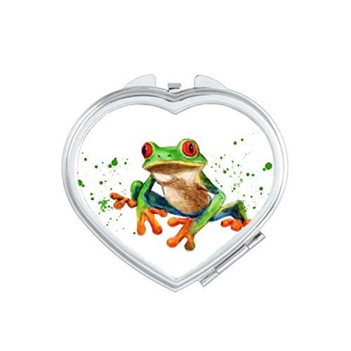 DIYthinker Polypedatid grünes Frosch-Herz Compact Make-up Spiegel Beweglicher Nette Handtaschenspiegel Geschenk Mehrfarbig