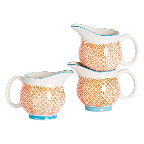 Pot à Lait/à sauces/à crème à crème à Motifs en Porcelaine - Orange/Bleue - 300 ML x6