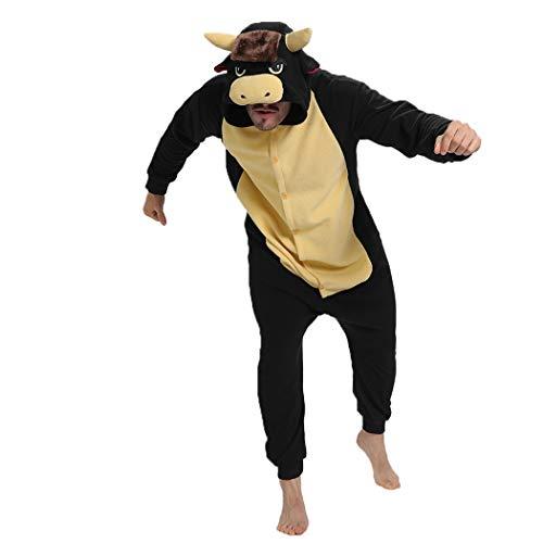 Forlady - Pijama de toro negro para adulto, unisex, disfraz de Halloween Negro Negro ( XL