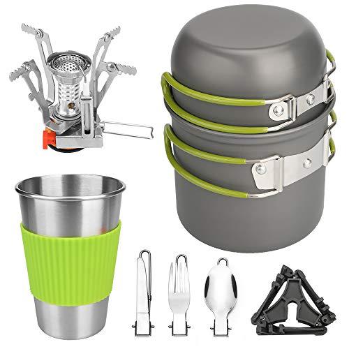LOTUSWILD Juego de utensilios de cocina para camping, paquete de 9 utensilios de cocina para exterior