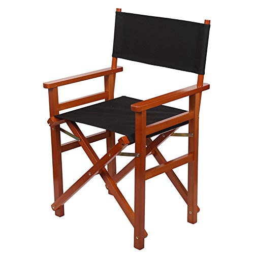 Chaise pliante Directeur, Teck Chaise Portable, Maquilleur Peintres Backpackers Président, pour le camping en plein air Tours amateurs de pêche et tout le monde, Hauteur d'assise 47,5 cm,Blackcloth