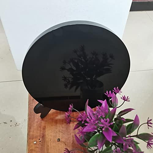 LVYAN Espejo Fengshui de Placa Redonda de Disco Circular de Piedra de obsidiana Negra Natural para decoración del hogar y la Oficina