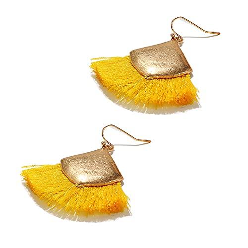Pendientes de aro para mujer, estilo étnico, bohemio, de aleación de rombo, con borla, de alambre