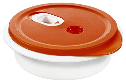 Rotho Micro Clever Mikrowellengeschirr 1 l, Kunststoff (BPA-frei), rot/weiss, 1 Liter (20 x 20 x 6,5 cm)