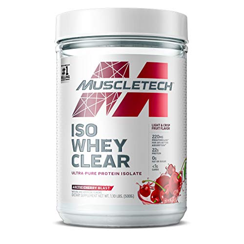 Whey Protein Powder | MuscleTech Clear Whey Protein Isolate | Whey Isolate Protein Powder for Women & Men | Clear Protein Drink | 22g of Protein, 90 Calories | Arctic Cherry, 1.1 Pounds (19 Servings)