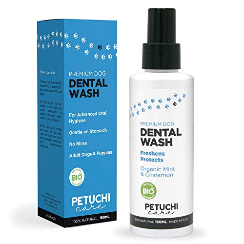 PETUCHI Spray Dental para Perros Bio; Antisarro y Elimina el Mal Aliento; 100% Natural; 150ml