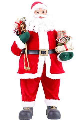 Mediablue Weihnachtsmann Dekofigur mit Geschenken und Handschuhe (80 cm)