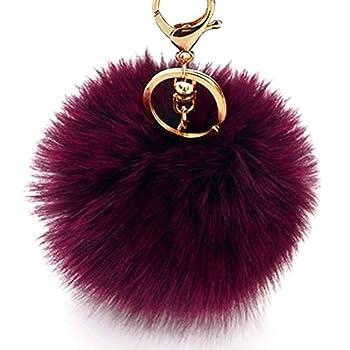 Dikoaina Faux Fox Fur Pom Pom Keychain Bag Purse Charm Gold Ring Fluffy Fur Ball  Deep purple