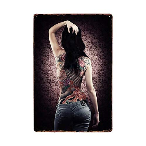 Tin plate poster Tattoo Girl Metal Tin Sign Plaque Tattoo Studio Shop Decoration Wall Art For Room Pub Bar Party Vintage Metal Painting Poster 20x30cm 981319