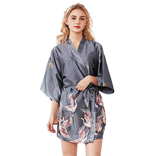 Badjas Robes Women Nightgowns Badjas Kimono Robe Sleepshirts Bruidsmeisje Bridal Wedding Party, Dames Satin Pyjama V-hals Sexy Nightwear- Summer Night Robe M-XXL (Color : Elegant gray, Size : L)