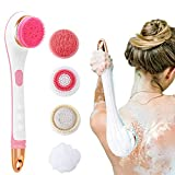 VWMYQ Electric Back Brush Waterproof Silicone Body Brush with 5 Spin Heads With Long Handle Exfoliating Products Back Scrubber for Men Women Bath Body Scrub Shower Deep Cleansing Soft Britsh (Pink)