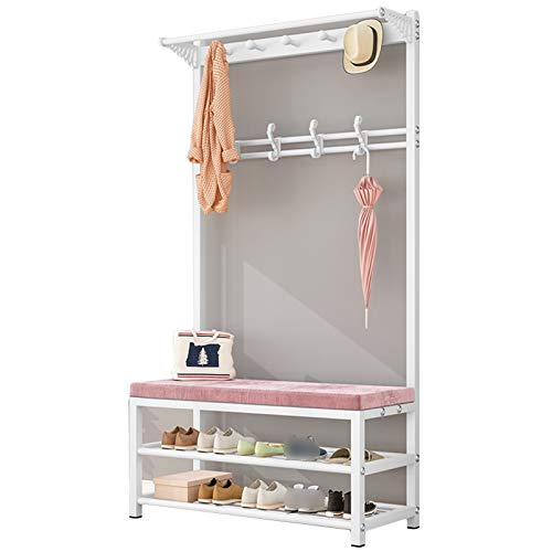 XINGLL Coat Rack Stand Clothes Rack Stand, 3-in-1 Design With Bench, Strong Load-bearing, Home Hallway Entryway Storage For Garment Shoe Hat Purse Umbrella, Space-saving