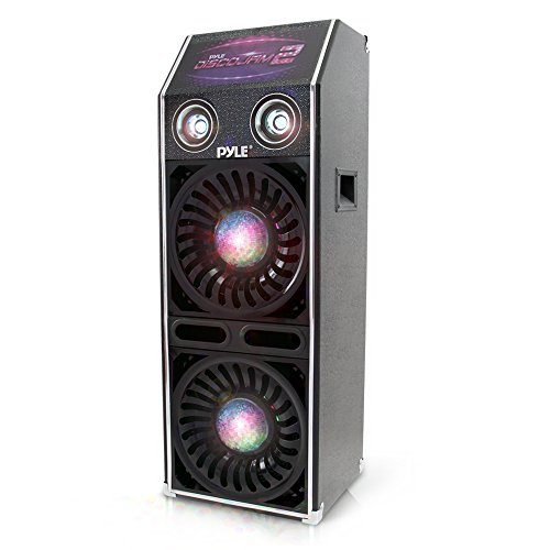 "DJ Dance Passive Speaker System - 1500 Watts Power PA Stereo Dual 10"" Woofer 3"" Tweeter Full Range Stereo Sound Built-in Flashing Color Lights MP3 File Compatibility - Pyle PSUFM1070P"