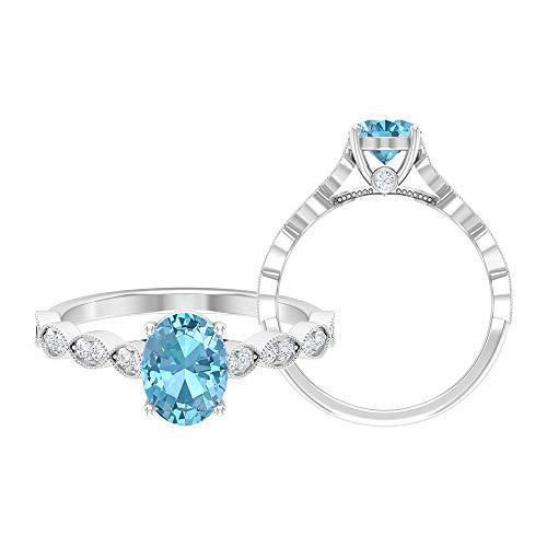 Rosec Jewels 18k Color blanco y dorado. ovalada rund brillant azul Moissanite Aquamarine
