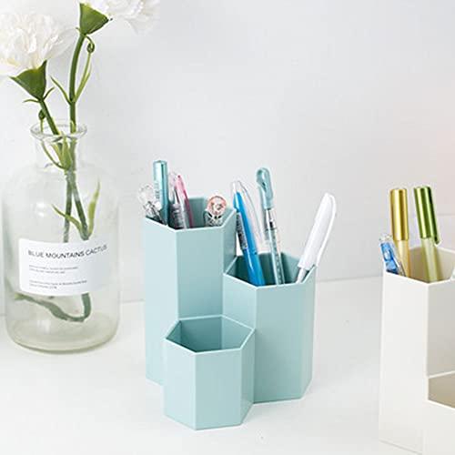 MUFENA Creatieve multifunctionele retro zeshoekige penhouder, make-up borstel, vaas borstel, student briefpapier opslag emmer, bureau decoratie, blauw