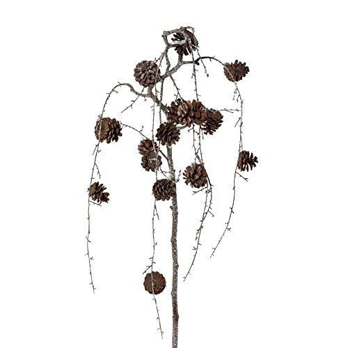 Künstlicher ZAPFENHÄNGEZWEIG 142 cm. WEISS. Zapfen Zweig leicht weiß eingefärbt.