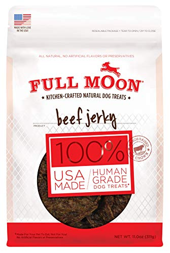 Full Moon All Natural Human Grade Dog Treats, Beef Jerky, 11 Ounce