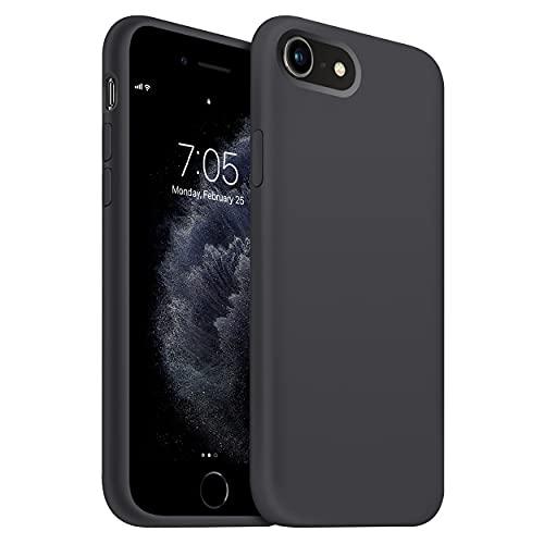 "OUXUL iPhone SE 2020 Case,iPhone 7/8 Phone case,iPhone 7 case Liquid Silicone Gel Rubber Phone Case,iPhone SE 2020/8/7 4.7"" Full Body Slim Soft Microfiber Lining Protective Case (Black)"