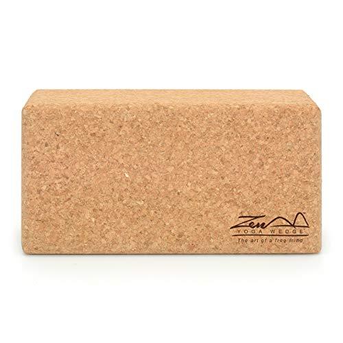 Cork Yoga Block Standard – By ZenYogaWedge - Premium 100% Natural Single Brick For...