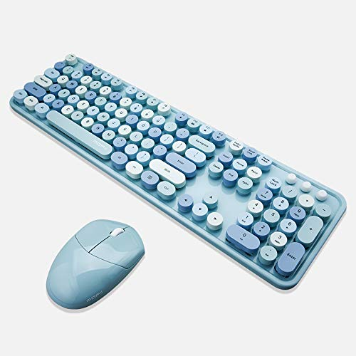 MOFii Wireless Keyboard and Mouse Combo, Retro Typewriter Keyboard Wireless Full Size Colorful Keyboard with Number Pad, Compatible with Windows/Laptop/PC Computer(Blue Colorful)
