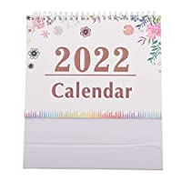 Amosfun を通して月2021から2022デスクトップカレンダーdebe 2022国際毎日カレンダープランナーワイヤー結合紙カレンダー家庭用オフィス