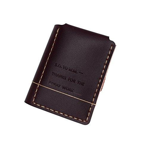 Cartera de Piel auténtica Estilo Vintage con el Texto en inglés «The Secret Life of Walter Mitty» para Novio y Marido, 3 monederos plegados (marrón)