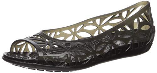 Crocs Jungen Mädchen Isabella Jelly Ii Flat W Peeptoe Ballerinas, Schwarz (Black/Black 060b), 34 EU