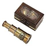 raajsee Mini telescopio pirata Spyglass antiguo acabado de latón con caja de madera pequeño vintage pirata marino telescopio decorativo 6 ''
