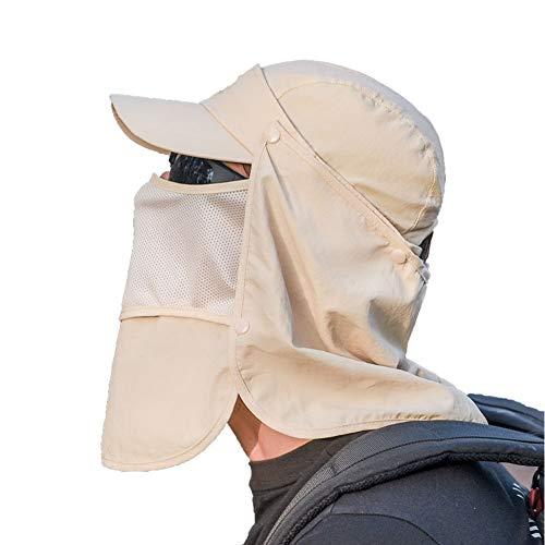 Lazzon Sonnenhut Herren Sommerhut mit UV Schutz Abnehmbarer Maske und Nackenschutz Unisex Outdoor Hiking Strand Fischerhut für Kopfumfang 54-60cm (Gelb)