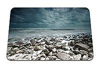 22cmx18cm マウスパッド (石海風景海岸暗い) パターンカスタムの マウスパッド