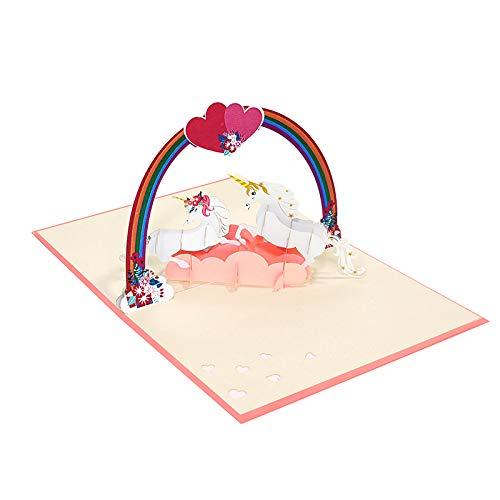 Favour Pop Up Glückwunschkarte. Ein filigranes Kunstwerk, das sich beim Öffnen als zwei Einhörner entfaltet. TL054