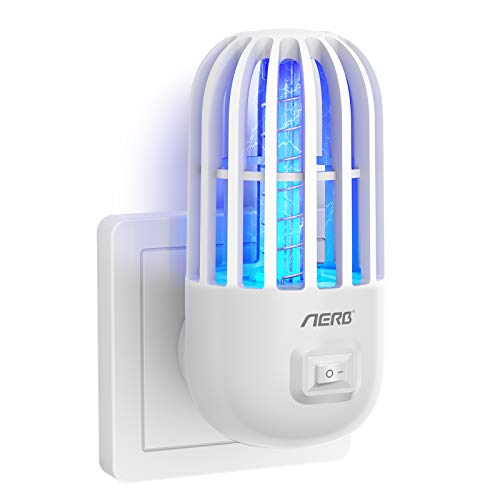 Aerb Lámpara Antimosquitos Eléctrico, UV luz de 360 °Mini insecticida, 1200 V de Alta eficiencia, un Enchufe en el Asesino de Mosquitos, para Interior al Aire Libre, Cocina, Insectos, Moscas