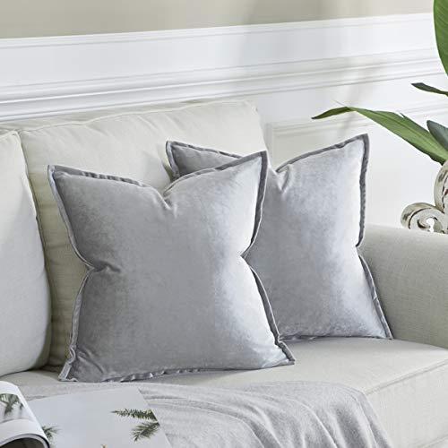 OMMATO Kissenbezug 55x55 cm Grau Kissenbezüge Samt dekorative Kissenhülle 2er Set Dekokissen für Sofa Schlafzimmer Wohnzimmer Auto