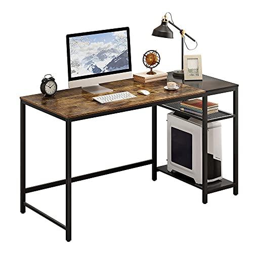 JEROAL Escritorio para ordenador de 55 pulgadas con estantes, escritorio grande de madera con 2 estantes de almacenamiento, mesa de estudio industrial, escritorio rústico marrón...