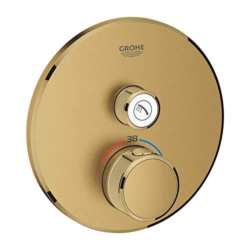 Grohe 29118GN0 Thermostat Grohtherm SmartControl avec valve de fermeture, rosace murale arrondie, couleur : blanc cassé