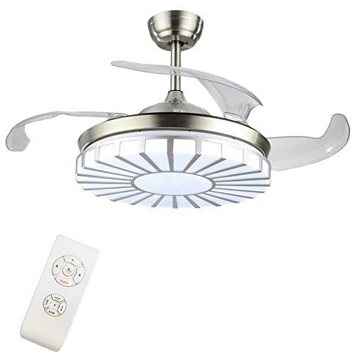 Ventilador de techo con 4 aspas retráctiles, velocidad de luz ajustable de 42 pulgadas, moderno ventilador con mando a distancia, para oficina, dormitorio, salón
