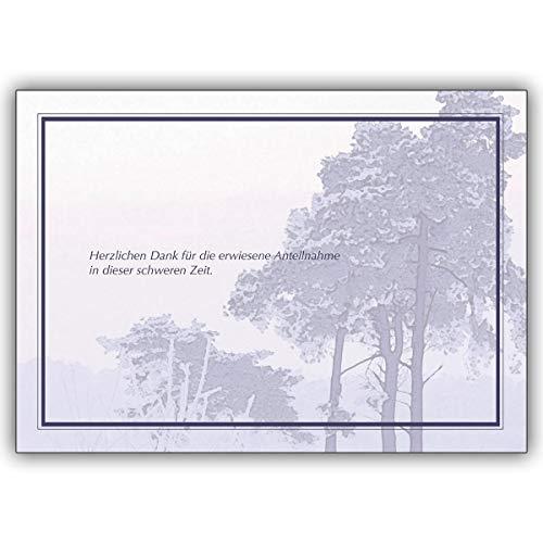 16er Set: Trauer Dankeskarte: Herzlichen Dank für die erwiesene Anteilnahme. • Premium Danksagung mit Umschlag nach Trauer, Tod, Beerdigung, Sterbefall, Begräbnis